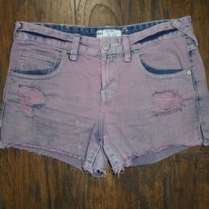 FREE PEOPLE ~ DISTRESSED DENIM SHORTS ~ BERRY 26